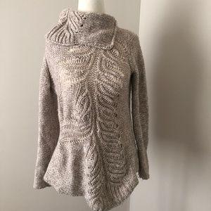 Anthropologie Moth Cowl Neck Sweater Tunic Tan XS